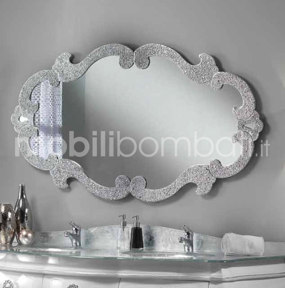 Specchio moderno argento flesciato le originali solo su for Specchiera barocca