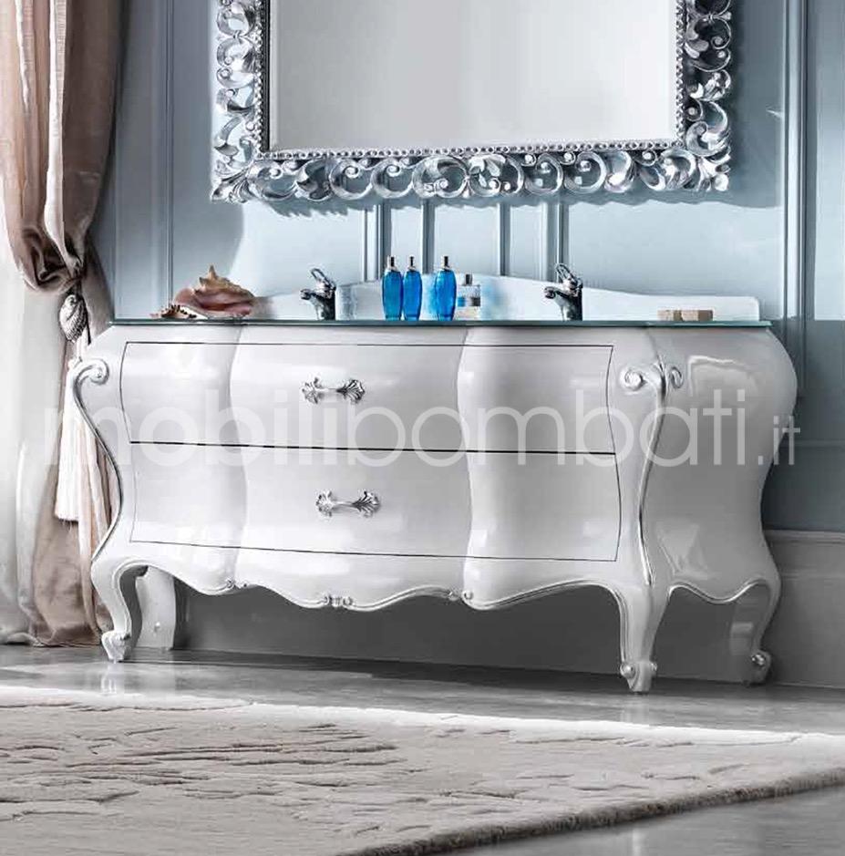 Mobile barocco fiorentino bagno foglia argento gli - Mobile bagno bombato barocco ...