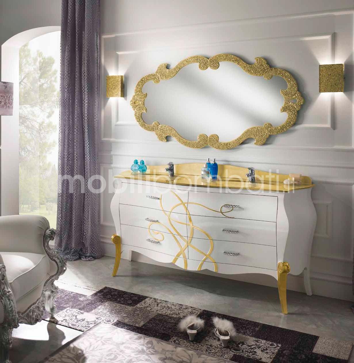 Specchio Cristallo Sagomato Con Graniglia Oro Le