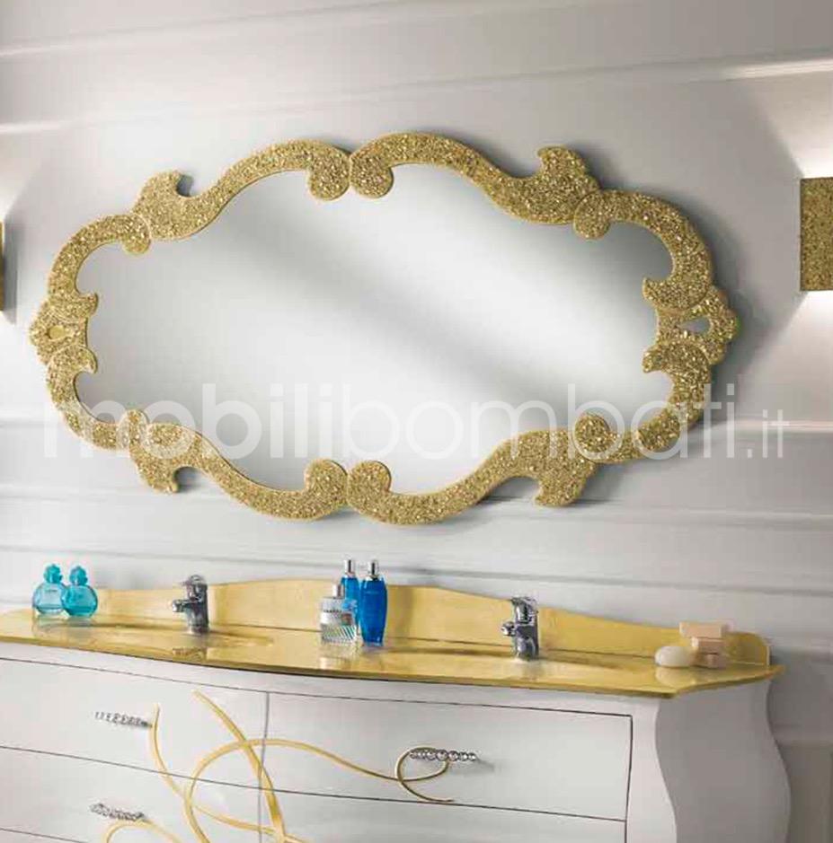 Specchio cristallo sagomato con graniglia oro le for Specchiera barocca
