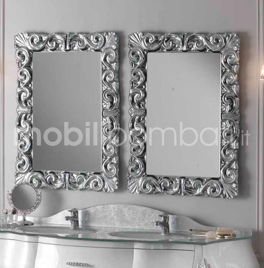 Specchio barocco foglia oro argento solo su for Specchio barocco argento