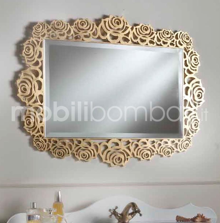 Specchiera cornice rose in cristallo fuso le originali solo su - Specchio cornice nera barocca ...