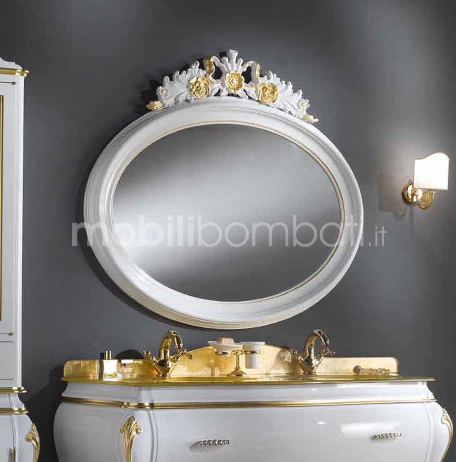 Specchio ovale in legno massello solo su - Specchio cornice nera barocca ...