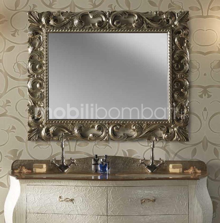 Specchio bagno barocco in foglia d 39 argento solo su - Specchio cornice nera barocca ...